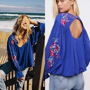 Free People Lita Embroidered Wide Sleeve Blouse